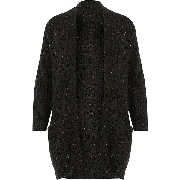 River Island Plus black knit sequin cardigan (€29) ❤ liked on Polyvore featuring tops, cardigans, black, knitwear, women, oversized chunky knit cardigan, plus size knit cardigan, sequin tops, oversized knit cardigan and thick knit cardigan