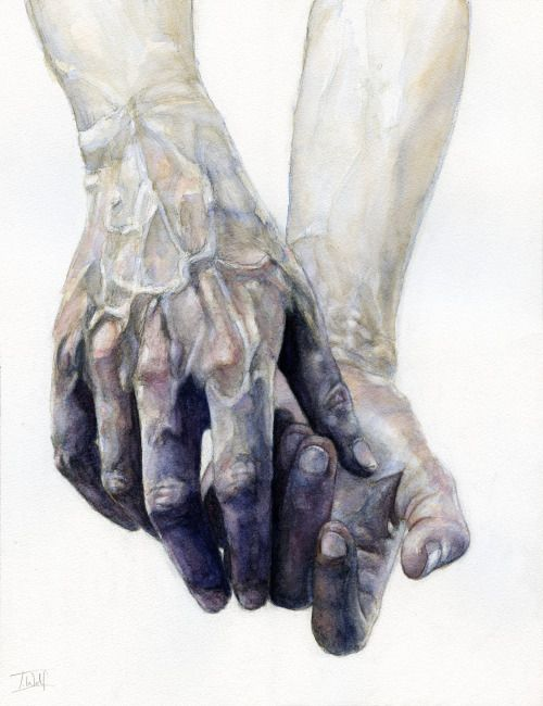"fuckyeahillustrativeart: "" Watercolour hands by Tom Wolf Follow them on Tumblr! Facebook Instagram - @wolfiosg """