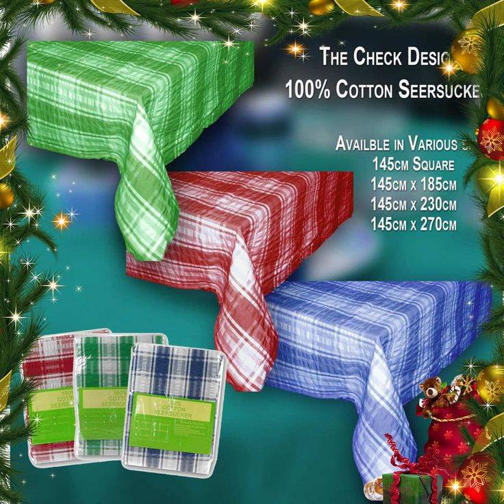 Shipment due today Christmas Colours... what about the quality and price. What a saving  http://www.curtainsrus.com.au/products/christmas-colours-seersucker-tablecloth-checks-cotton-rectangle-xmas-special-promotion?utm_campaign=social_autopilot&utm_source=pin&utm_medium=pin