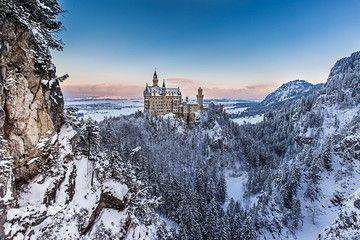 Neuschwanstein castle in winter evening. Bavaria, Germany.