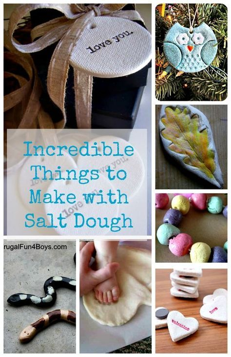 More than 50 awesome crafts made with salt dough! Plus a great salt dough recipe - all you need is one cup of flour, one of salt, and half a cup of water.