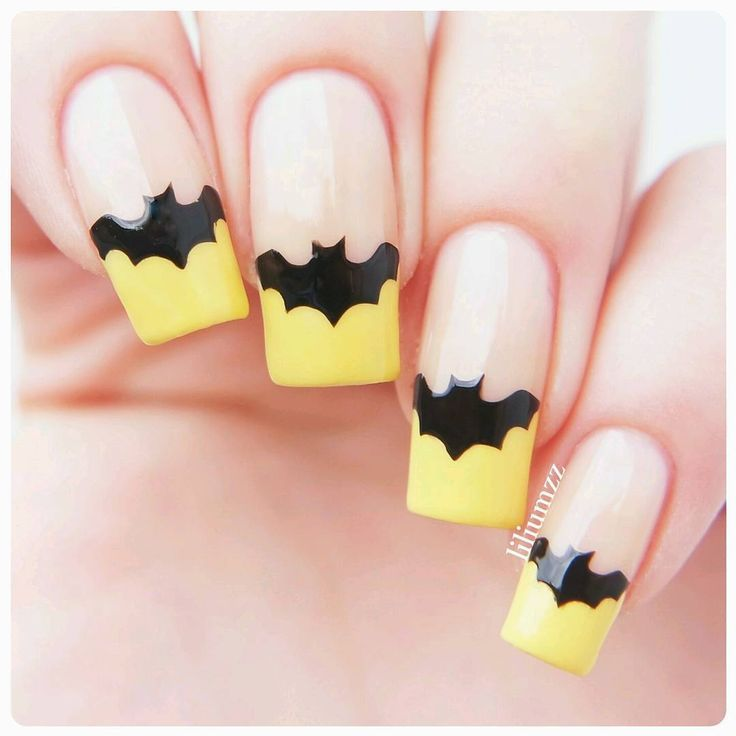 Bat nails! (Tip with something other than yellow, maybe a dark purple or grey.)