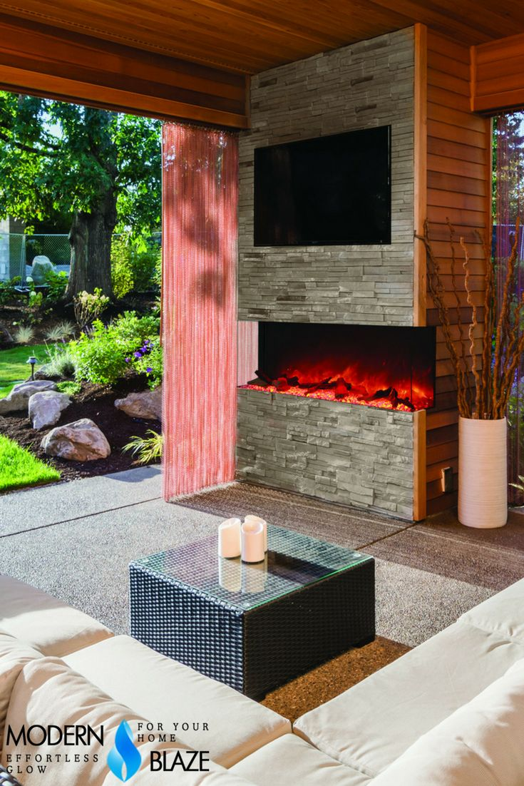 best amantii electric fireplaces images on pinterest  electric  - amantii  indooroutdoor sided electric fireplace (truviewxl)