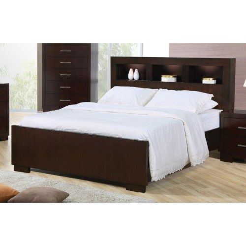 Coaster Jessica King Contemporary Bed with Storage Headboard and Built in Lighting - Coaster Fine Furniture