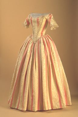 Evening gown (c. 1840) of brocade silk and wool. New Brunswick Museum