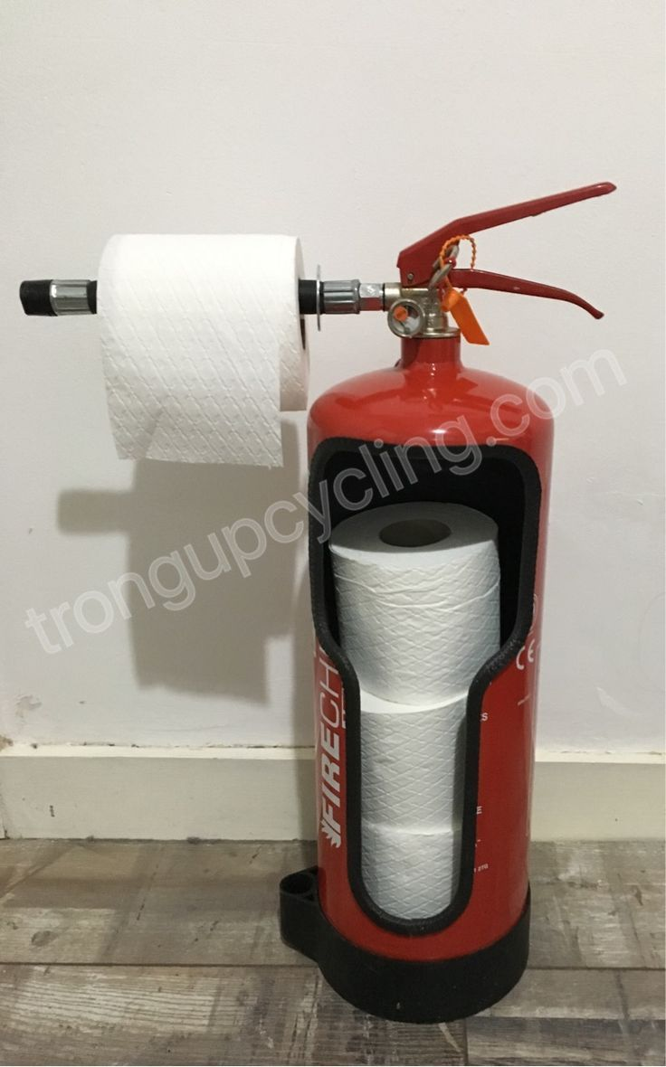 Repurposed fire extinguisher toilet roll holder – …