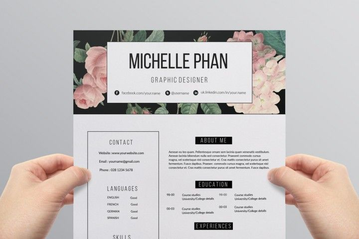 floral 2 page cv template    resume template by chic