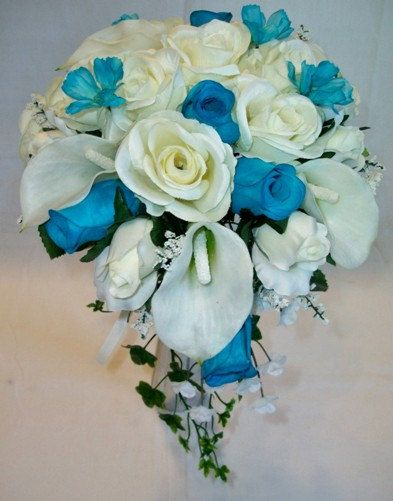 Matrimonio Sposa Bouquet turchese Rose di Mysilkweddingflowers