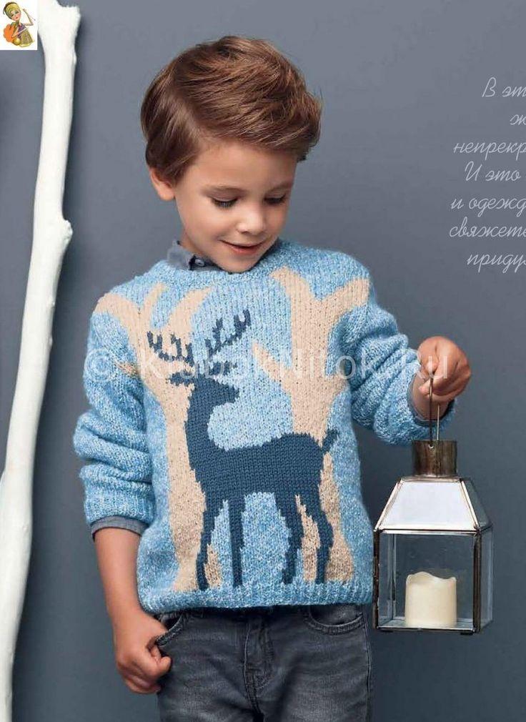 Пуловер с оленем | Вязание для детей | Вязание спицами и крючком. Схемы вязания.