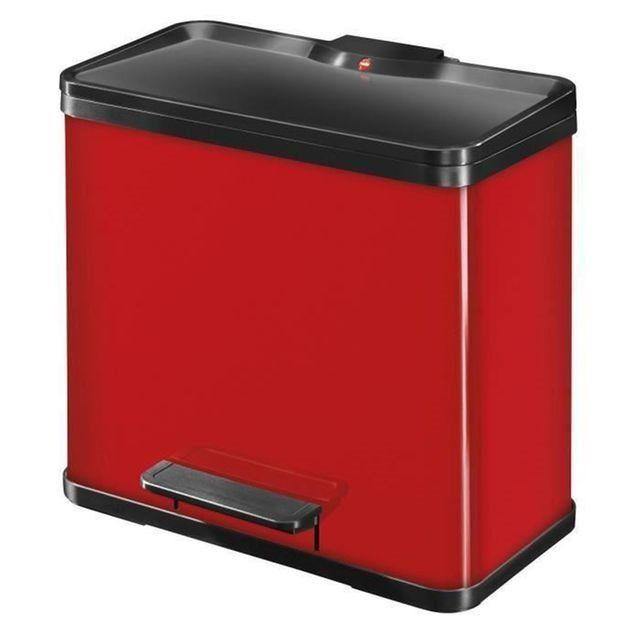 Poubelle Trento Oko Duo 30 litres rouge Hailo HAILO