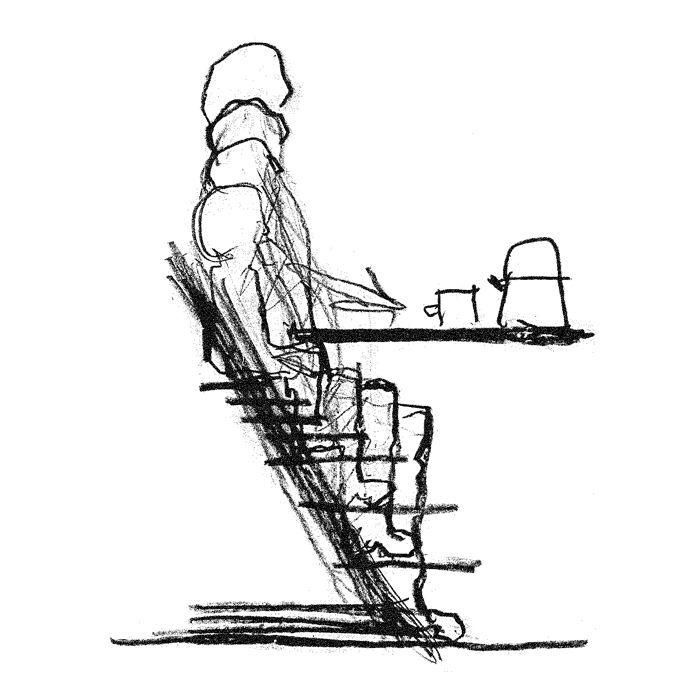 One of Peter Opsvik's early sketches. these helped him to design come of our best loved healthy adult and children's chairs.