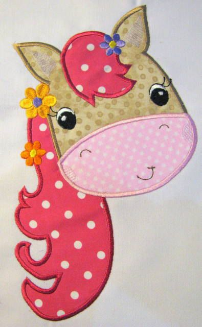Farm Friends For Girls - Horse Face 02 Machine Applique Embroidery Design - 4x4, 5x7 & 6x8