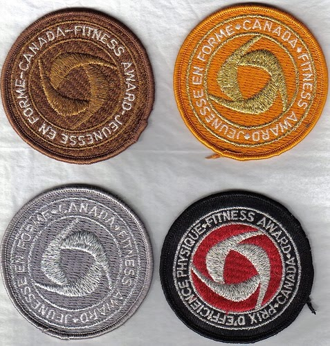 Canada Fitness Test Badges. It was a Program in gym class from 80's and early 90's.  I really hated this program and I never earned anything!!   Badges: gold, silver, bronze, participation  The Tragically Hip song 'Fireworks', has the line, 'caught in some eternal flexed-arm hang', a reference to the inhuman torture that was the Canada Fitness flexed-arm hang.
