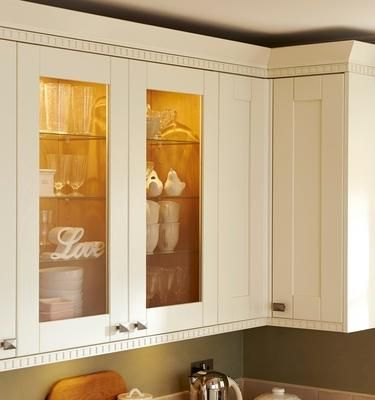 Howdens Full Height Glass Wall Units And Castellated Cornice And Pelmet