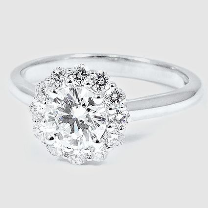 18K White Gold Lotus Flower Diamond Ring // Set with a 0.80 Carat, Round, Very Good Cut, I Color, VS2 Clarity Diamond #BrilliantEarth