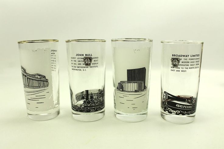 Vintage Pennsylvania Railroad PRR Train Locomotive Station Glass Drinking Cups  | Collectibles, Transportation, Railroadiana & Trains | eBay!