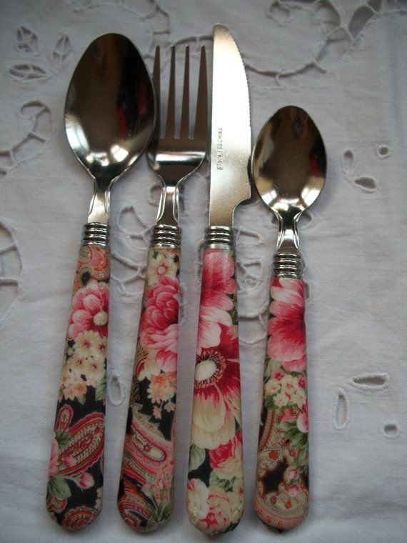 *SPECIAL OFFER* use coupon code 20DISCOUNT for 20% off - Now £4.00 a set!  Totally unique cutlery handmade using special decoupage paper and