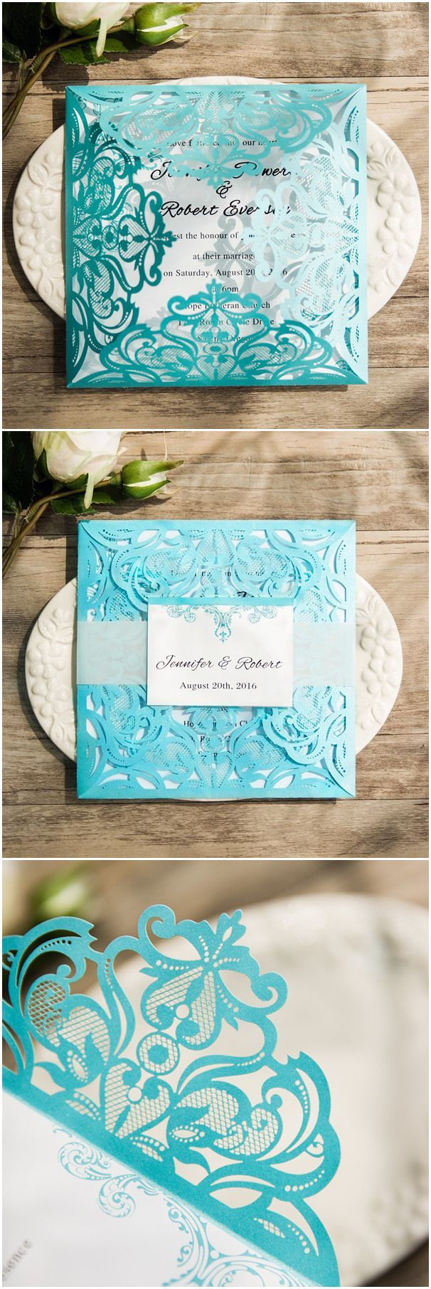 wedding invitations peacock theme%0A Tiffany blue themed laser cut wedding invitations with free rsvp cards  ewws     elegantwinvites