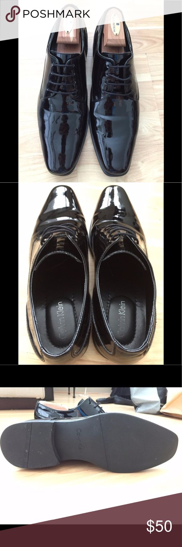 👞 Calvin Klein Patent Formal Lace-ups 🤵 Calvin Klein patent formal lace-ups. Worn once (see soles). Great cost-effective option for your next black tie event! :)  *trees not included* Calvin Klein Shoes Oxfords & Derbys