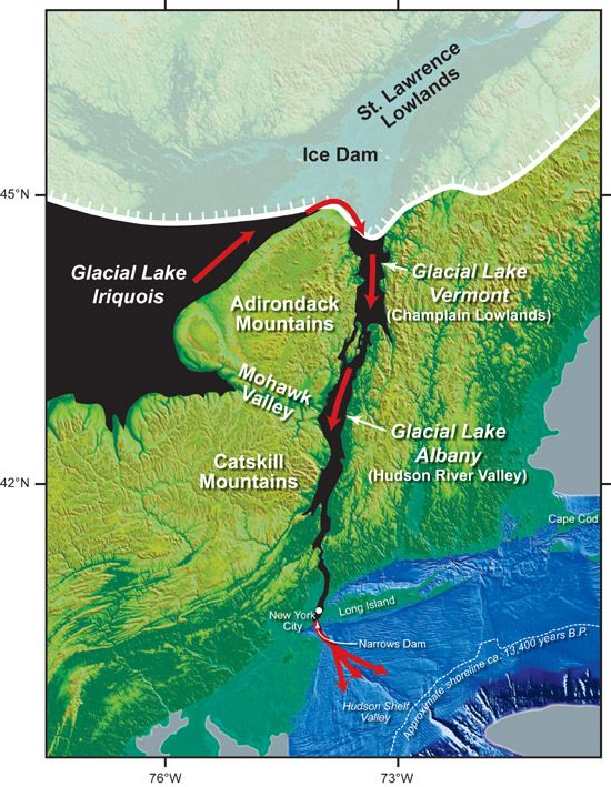 Where Lake Iroquois drained to the sea - map by Woods Hole Oceanographic Institute
