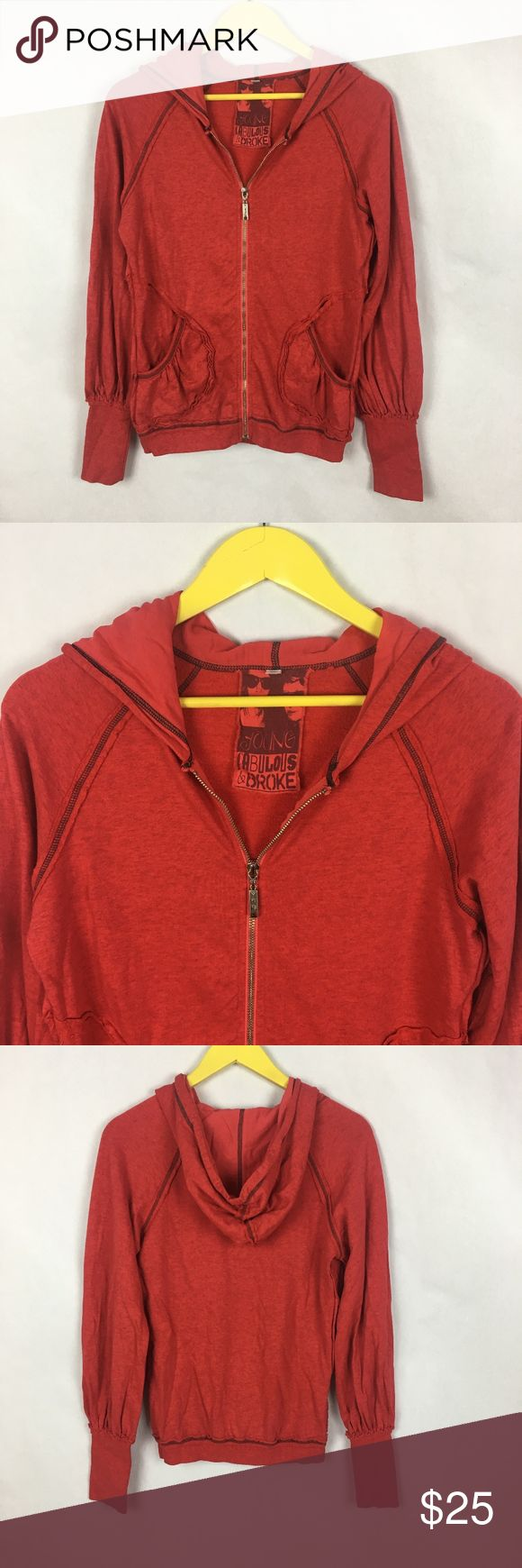 """Young Fabulous &  Broke Red Zip Up Hoodie Exellent Condition Young Fabulous and Broke Red Zip Up Hoodie.  Raw Edges.  Light weight. Front Pockets. Size Large.   Armpit-armpit: 20"""" Length: 25"""" Fabric: 50% cotton/50% Modal  No visible flaws or defects. No trades. Offers warmly welcomed.    Young Fabulous and Broke Zip Up Hoodie in Red Young Fabulous & Broke Tops Sweatshirts & Hoodies"""
