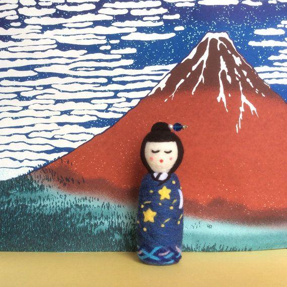 Kazumi Handmade needle felted Japanese kokeshi by SweetPeaDolls