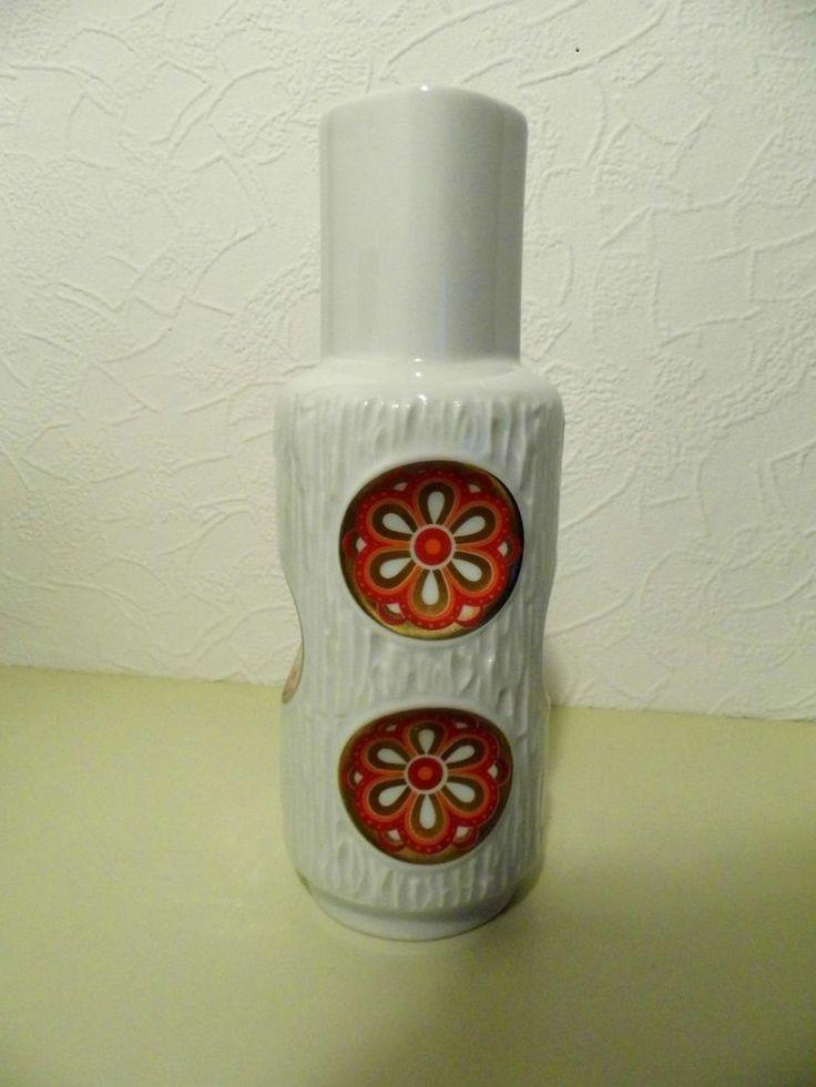 Pop  Art Porzellan Vase orange / weiss  70er Jahre
