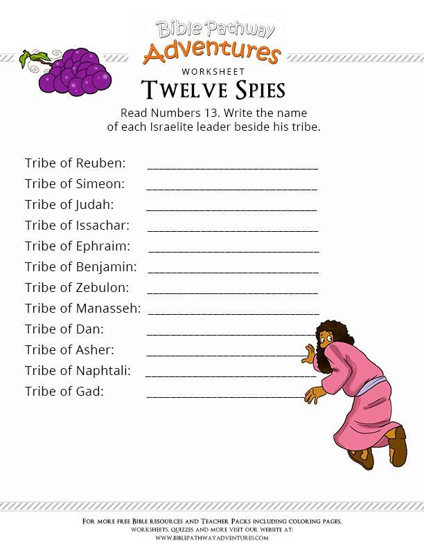 bible worksheet for kids twelve spies