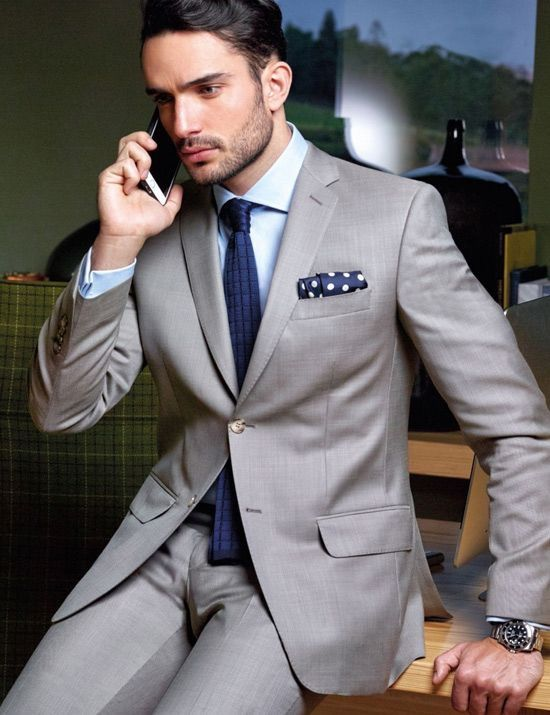 Grey is a great color for suit, because it goes with everything!