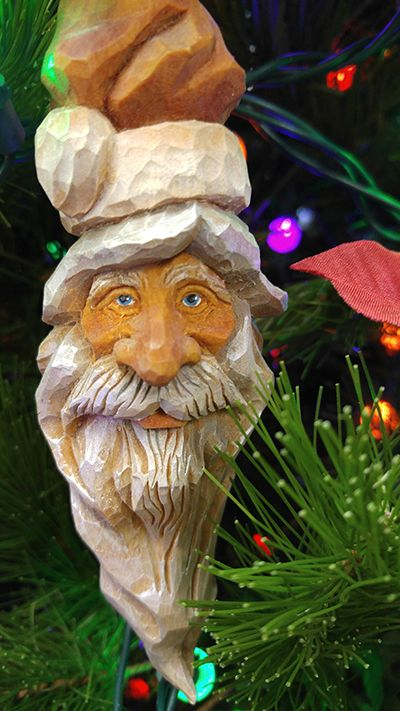 Santa ornament carved by justin gordon woodcraftsupply