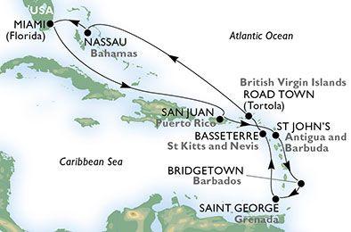 Estados Unidos, Puerto Rico, Antigua y Barbuda, Barbados, Granada, St. Kitts, Islas Vírgenes (Británicas), Bahamas