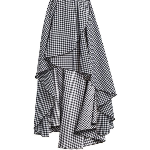 Caroline Constas Adelle gathered cotton-gingham skirt (1,855 SAR) ❤ liked on Polyvore featuring skirts, black white, black and white gingham skirt, flouncy skirt, ruched skirt, gingham skirt and black and white skirts