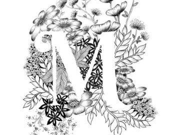Art print van letter S met florale achtergrond. Geweldig cadeau! Message me voor aanpassingen of in opdracht van de stukken.  Zwart-wit inkt, meer letters van het alfabet binnenkort.