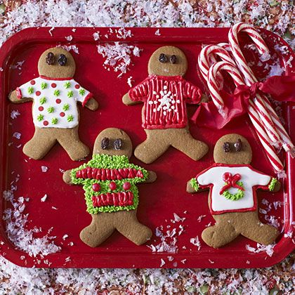 Decorate gingerbread men in tacky christmas sweaters for a tacky christmas sweater themed party! Love it!