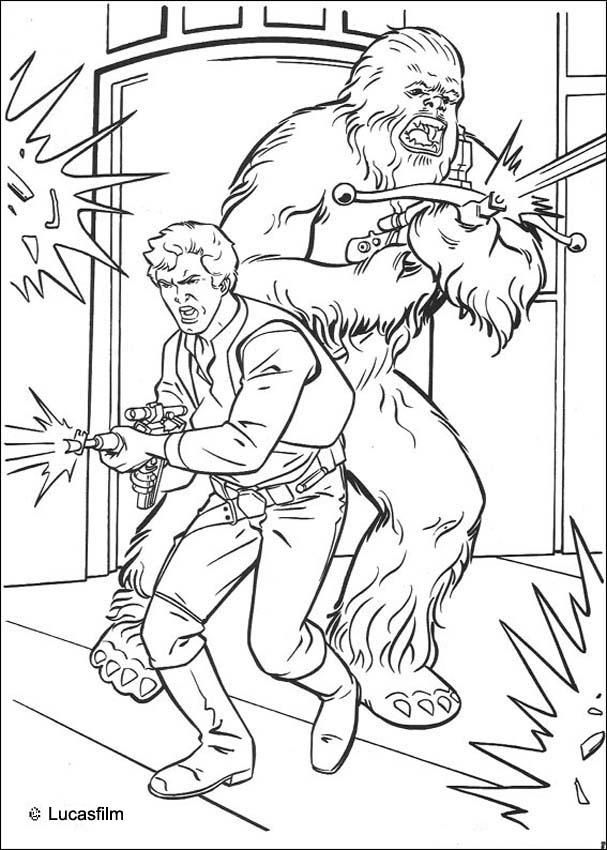 You will love to color a nice coloring page. Enjoy coloring this Han Solo and Chewbacca coloring page for free. You don't need your crayons anymore! Now you can color online this Han Solo and Chewbacca coloring page and save it to your computer.