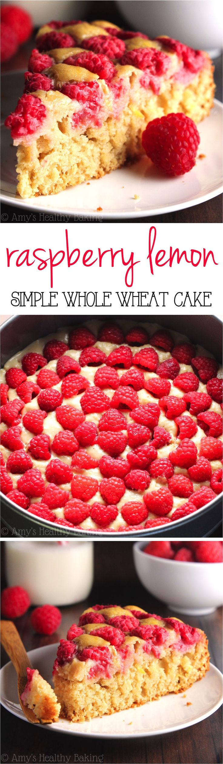 Simple Raspberry Lemon Cake -- SO easy to make & secretly healthy enough for breakfast! My family loves this recipe!!