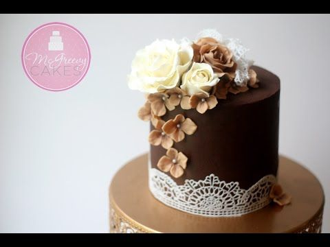How to Ganache (or buttercream) a Cake and Get Sharp Edges! - YouTube