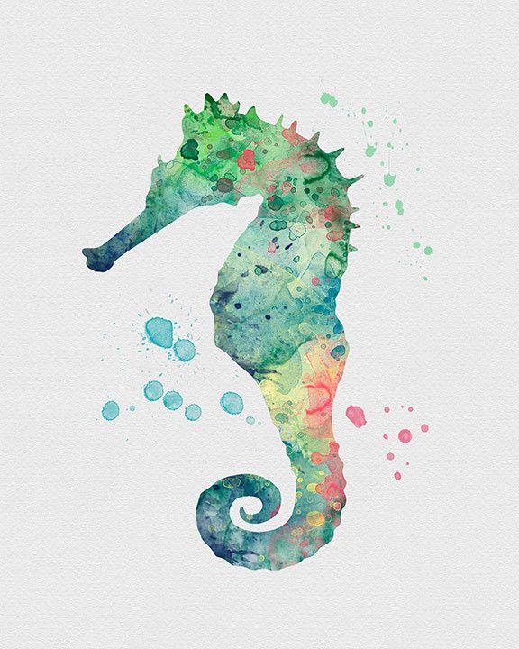Seahorse Watercolor Art                                                                                                                                                                                 Más