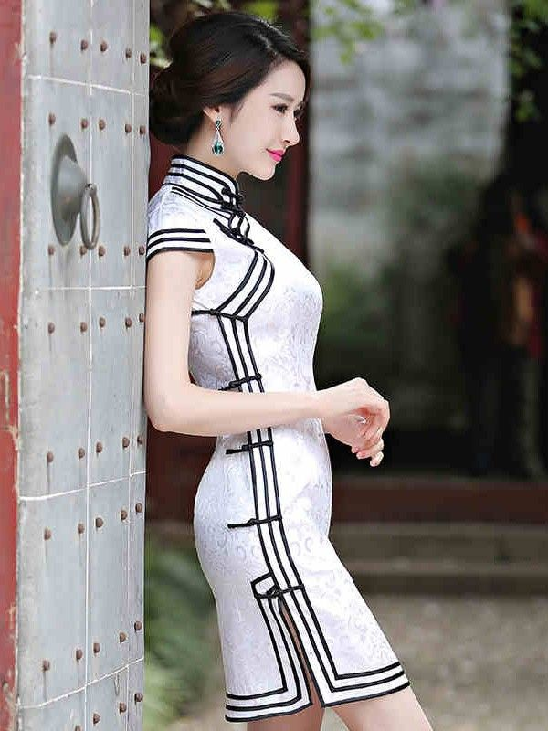 White Short Cotton Qipao / Cheongsam Dress