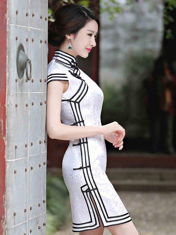 White Short Cotton Qipao / Cheongsam Dress