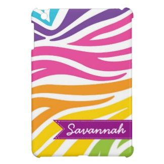 Personalized Rainbow Zebra Print iPad Mini Case makes a great gift for teen girls or anyone who loves color!