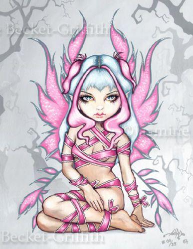 Pink Ribbon Fairy gothic fantasy pinup art Jasmine Becket-Griffith CANVAS PRINT
