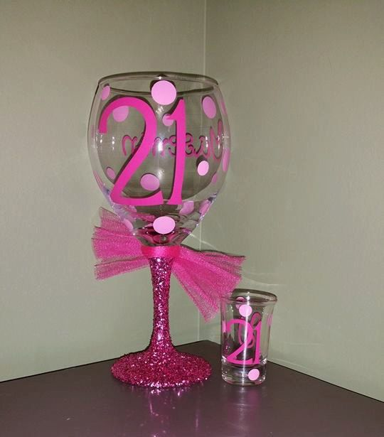 21st Birthday Personalized Glitter Stemmed Wine Glass AND