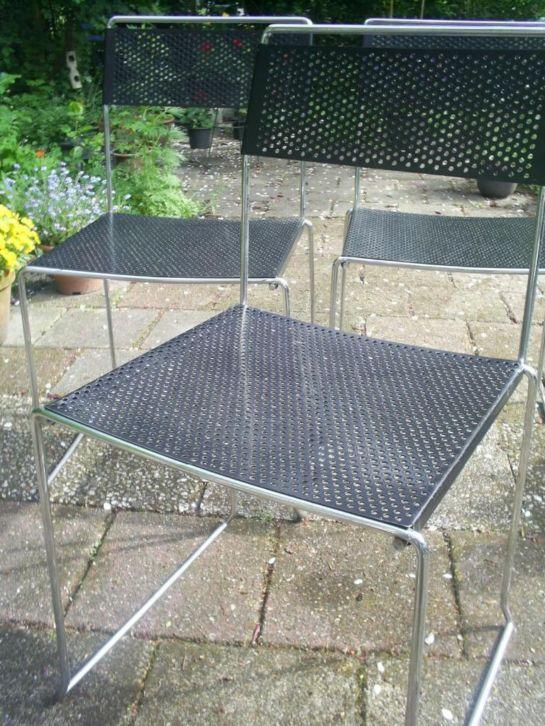 3 metalen vintage stoelen - Bieden