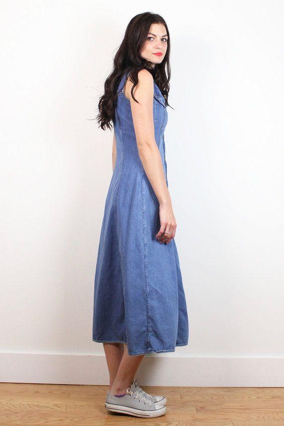 Vintage Denim Dress 1990s Blue Jean Jumper Sleeveless Button Front Midi Maxi Prep Normcore Collared Shirt Dress Soft Grunge XS S Extra Small #vintage #etsy #1990s #90s #soft #grunge #normcore #denim #blue #jean #jumper #midi #maxi #dress