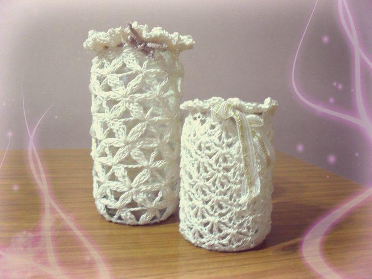 Frascos decorados con crochet