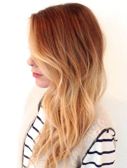Prettiest Red Highlights Long Ombre Hairstyles for Women