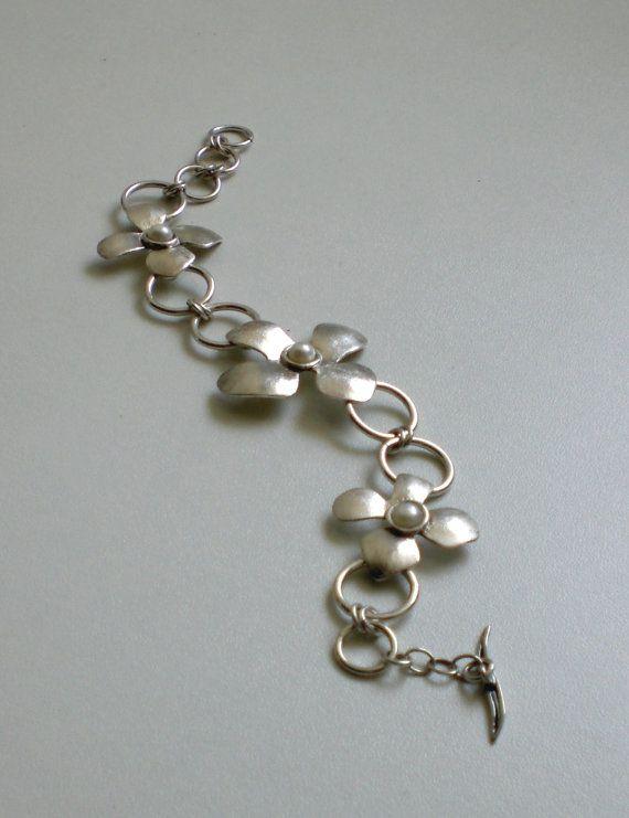 Sterling Silver Bracelet - Flowers Bracelet - Pearls - textured Flowers - Handmade - Fine Jewelry ewelry