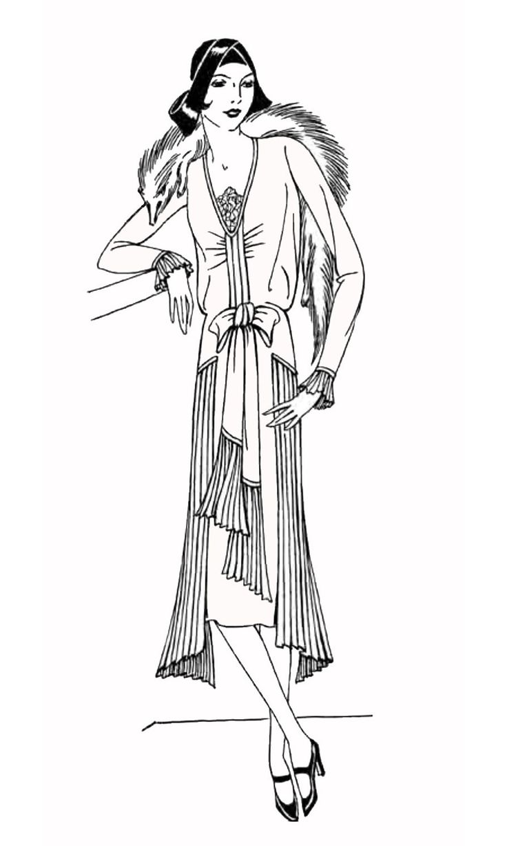 Coloring pages 1950s - Free Coloring Page Coloring Adult Fashion 1930 1930 S Lady Simple Coloring