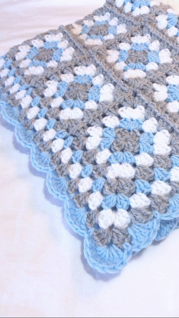 Granny Square Baby Blanket Blue and Gray Crochet by littledarlynns